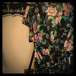 Sheer floral top by Express
